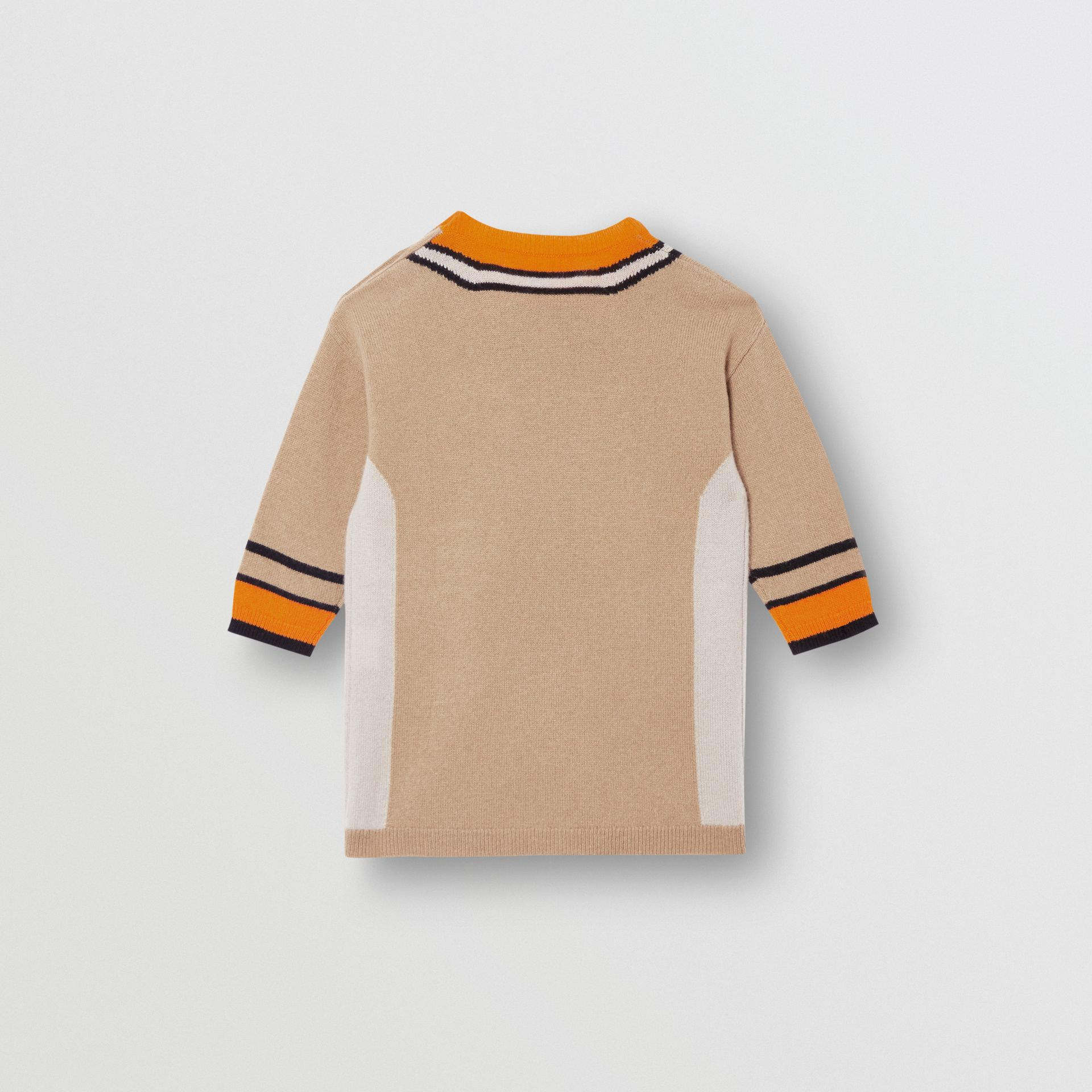 Trompe L'Oeil Intarsia Cashmere Sweater Dress in Archive Beige - Children | Burberry - gallery image 3
