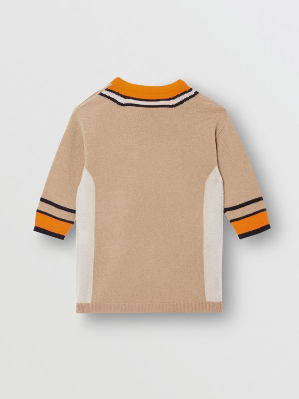 Trompe L'Oeil Intarsia Cashmere Sweater Dress in Archive Beige - Children | Burberry United Kingdom - cell image 3