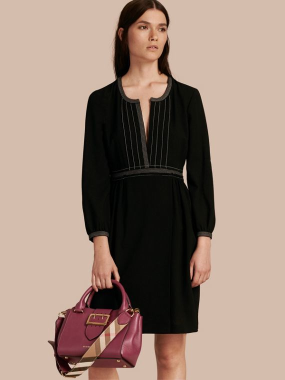 Dark plum The Small Buckle Tote in Grainy Leather Dark Plum - cell image 3