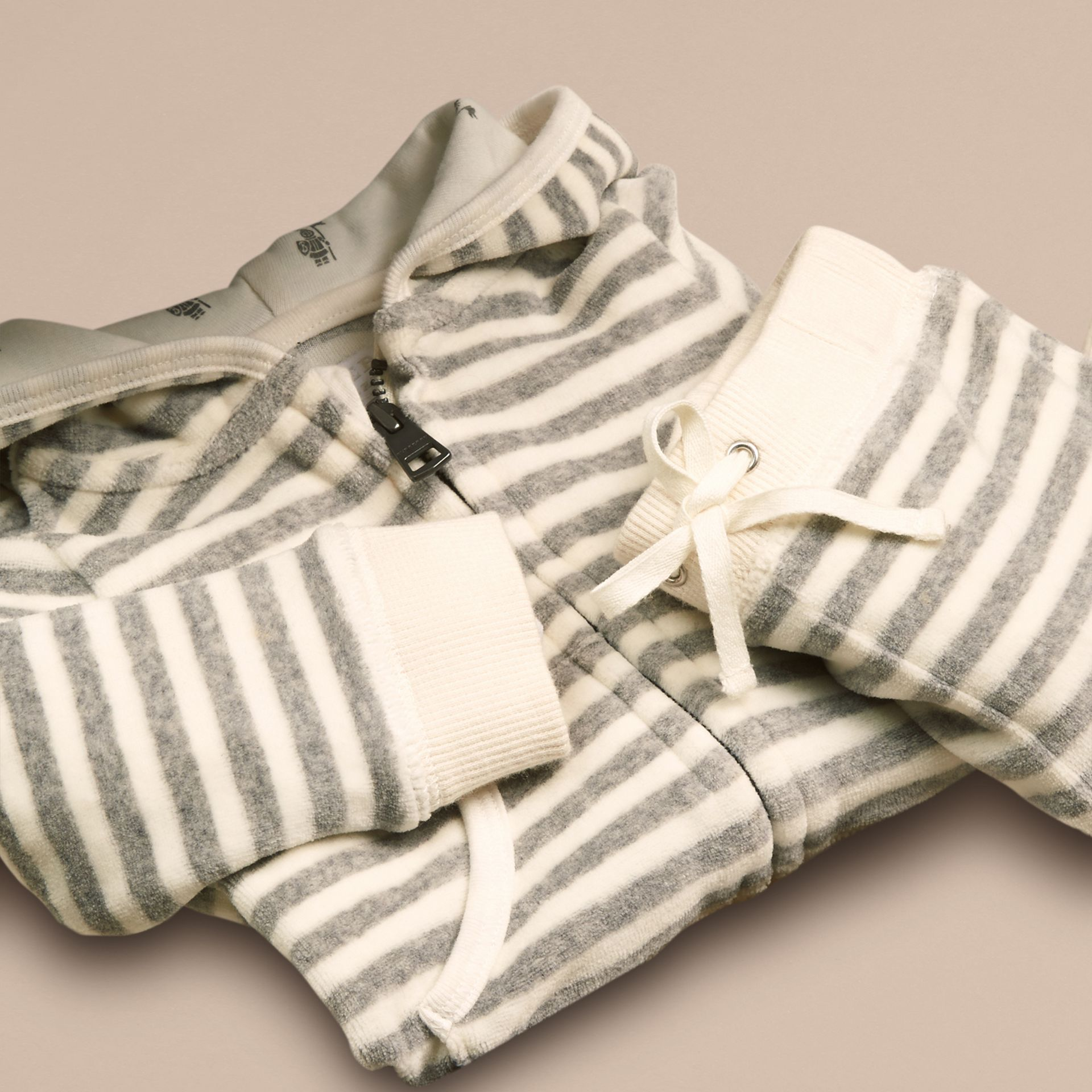 Grey melange/natural white Velour Stripe Two-Piece Set - gallery image 2