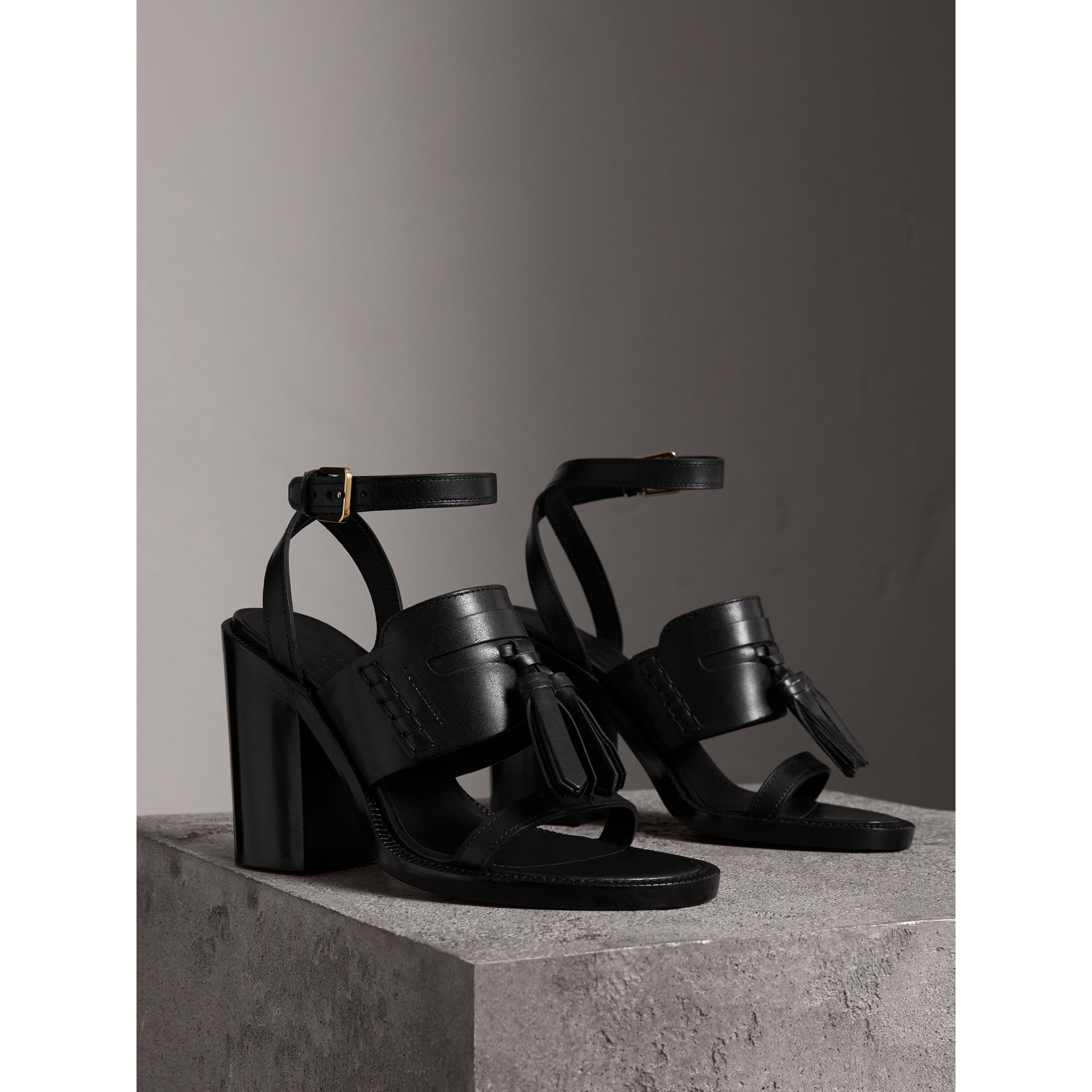Tasselled Leather Block-heel Sandals in Black - Women | Burberry - gallery image 4