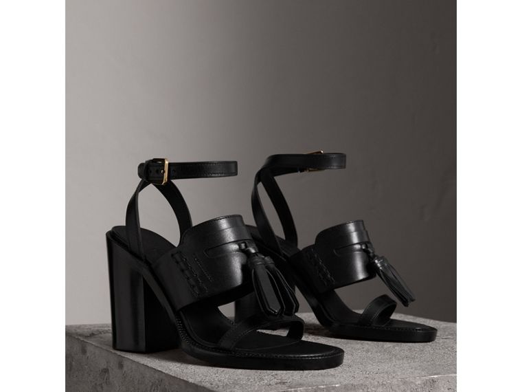 Tasselled Leather Block-heel Sandals in Black - Women | Burberry - cell image 4