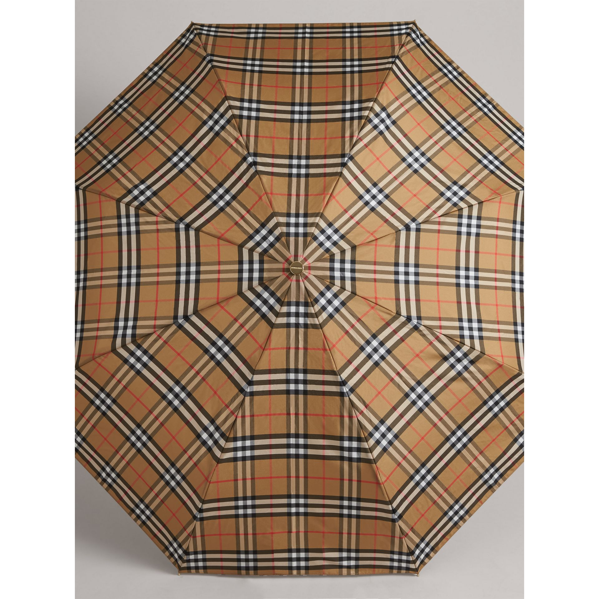 Vintage Check Folding Umbrella in Antique Yellow | Burberry - gallery image 4