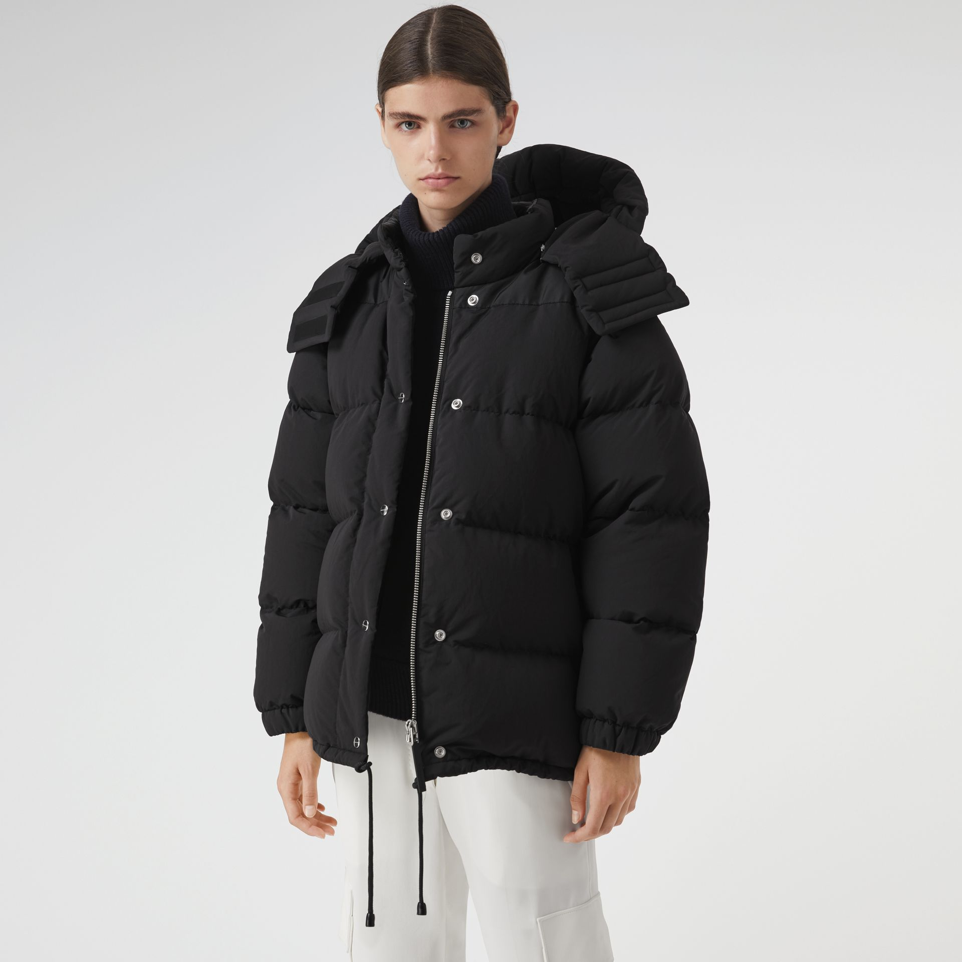 Detachable Hood and Sleeve Down-filled Puffer Jacket in Black - Women | Burberry United States - gallery image 5