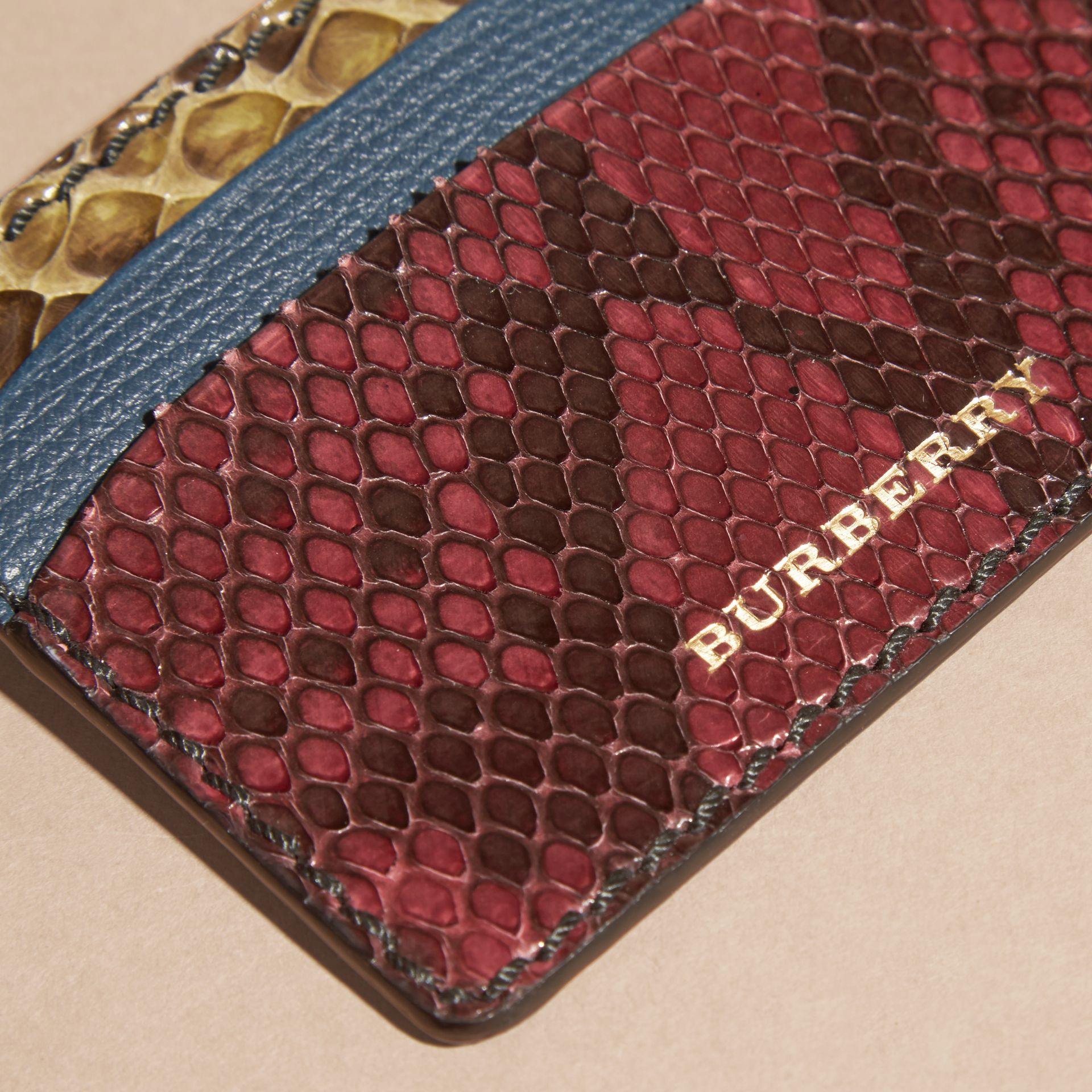 Colour Block Snakeskin and Leather Card Case in Peacock Blue - gallery image 2