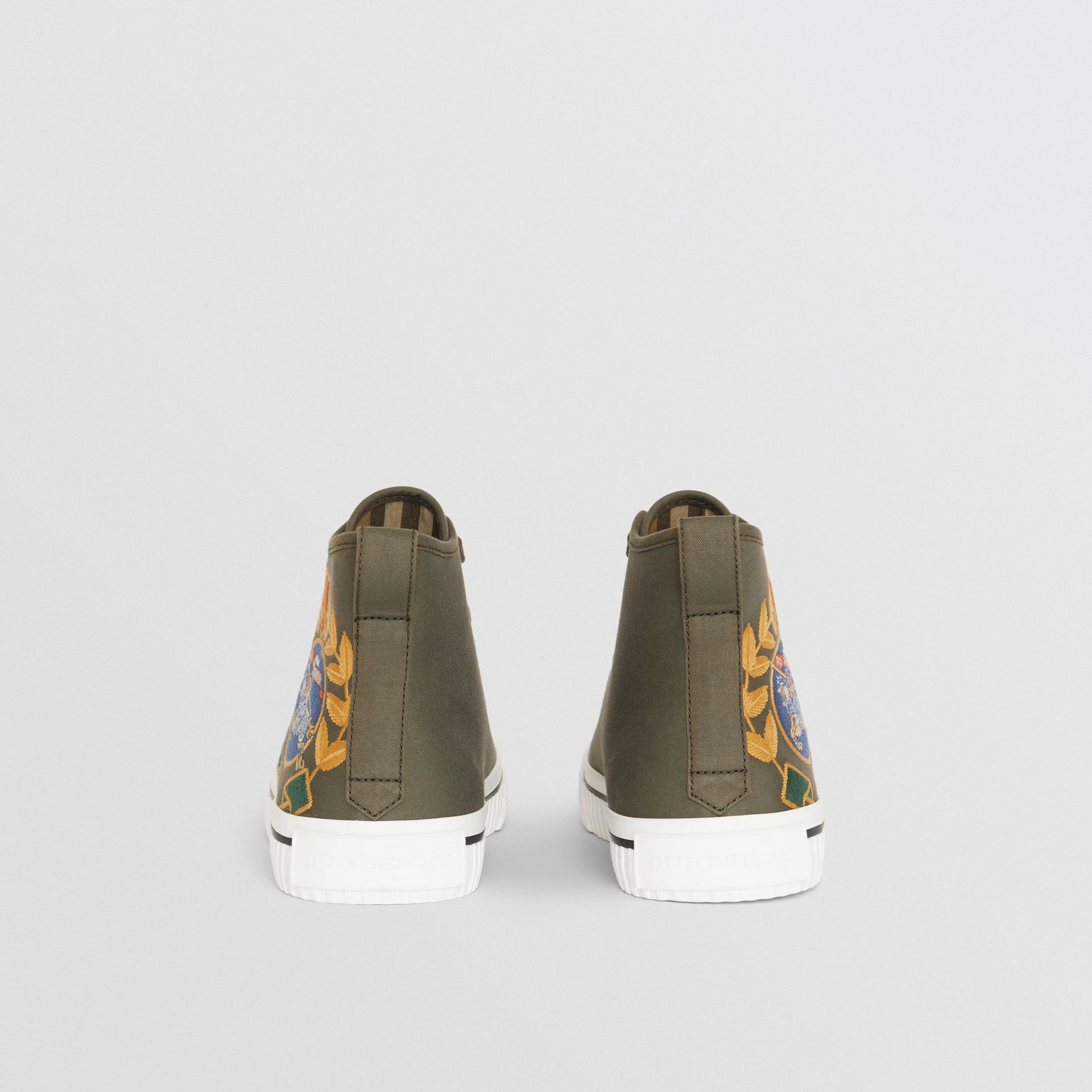 Embroidered Archive Logo High-top Sneakers in Oregano - Women | Burberry Australia - gallery image 3