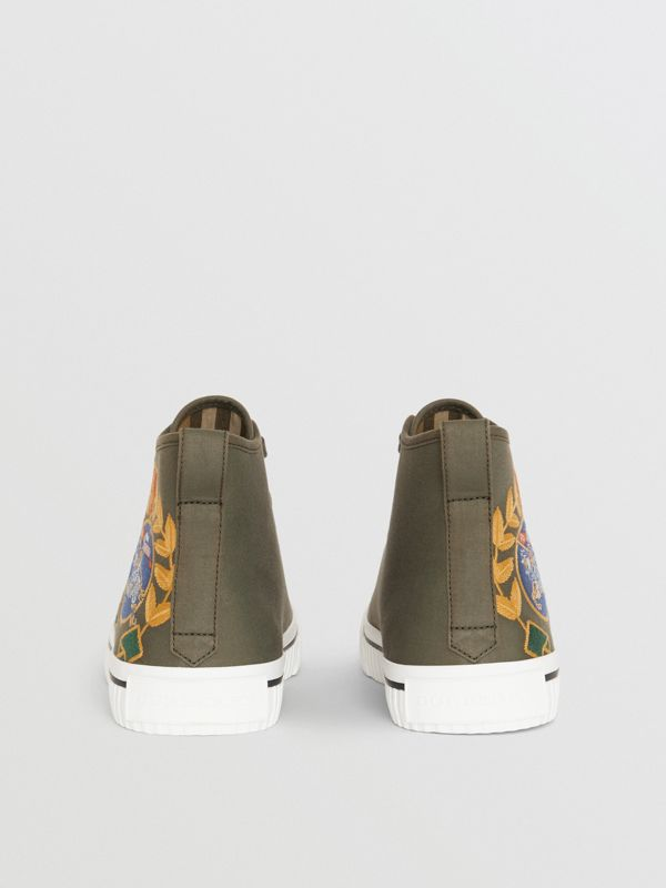 Embroidered Archive Logo High-top Sneakers in Oregano - Women | Burberry Australia - cell image 3