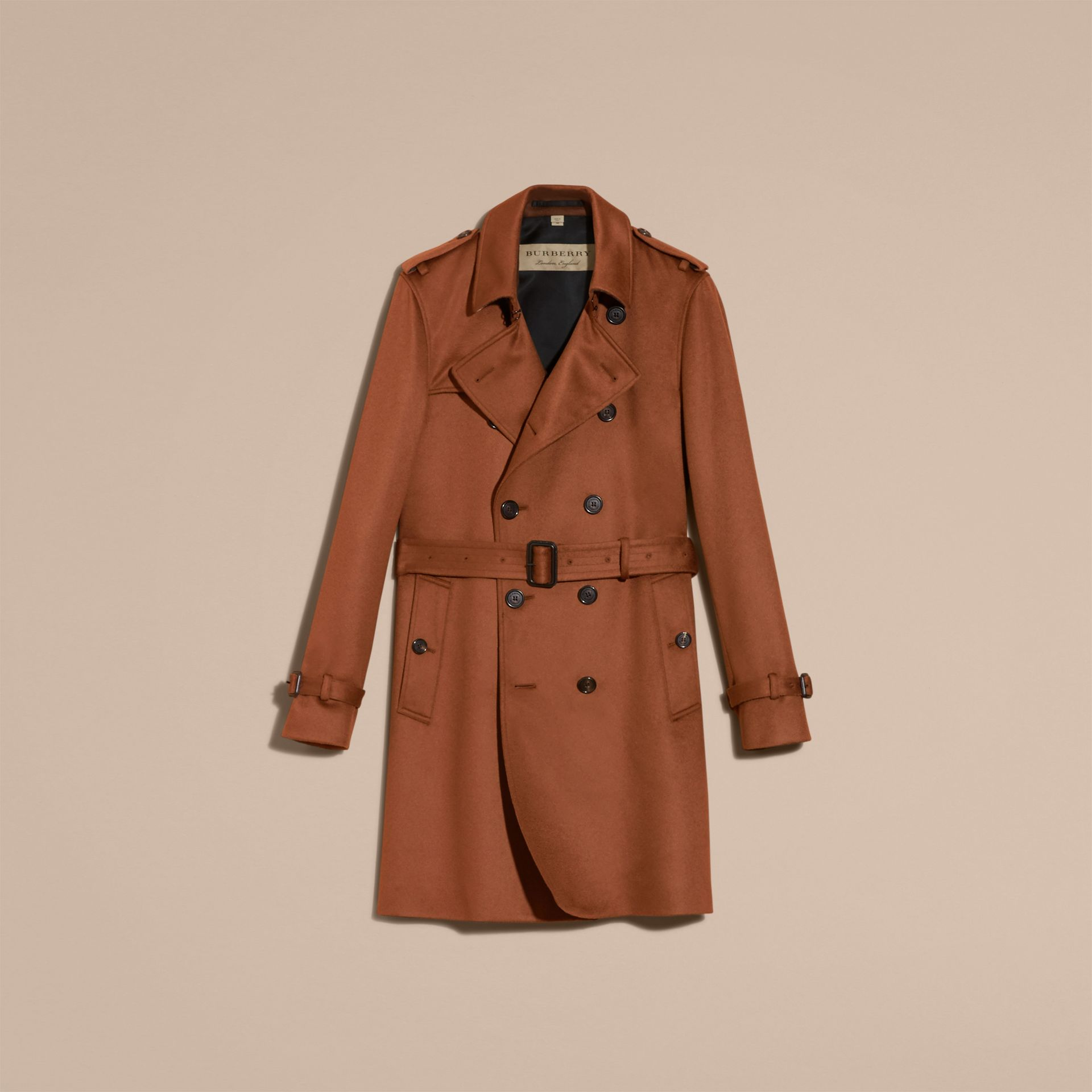 Umber brown Cashmere Trench Coat Umber Brown - gallery image 4