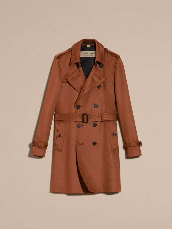 Cashmere Trench Coat Umber Brown - cell image 3