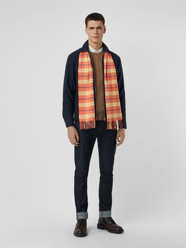 The Classic Vintage Check Cashmere Scarf in Coral | Burberry United States - cell image 3