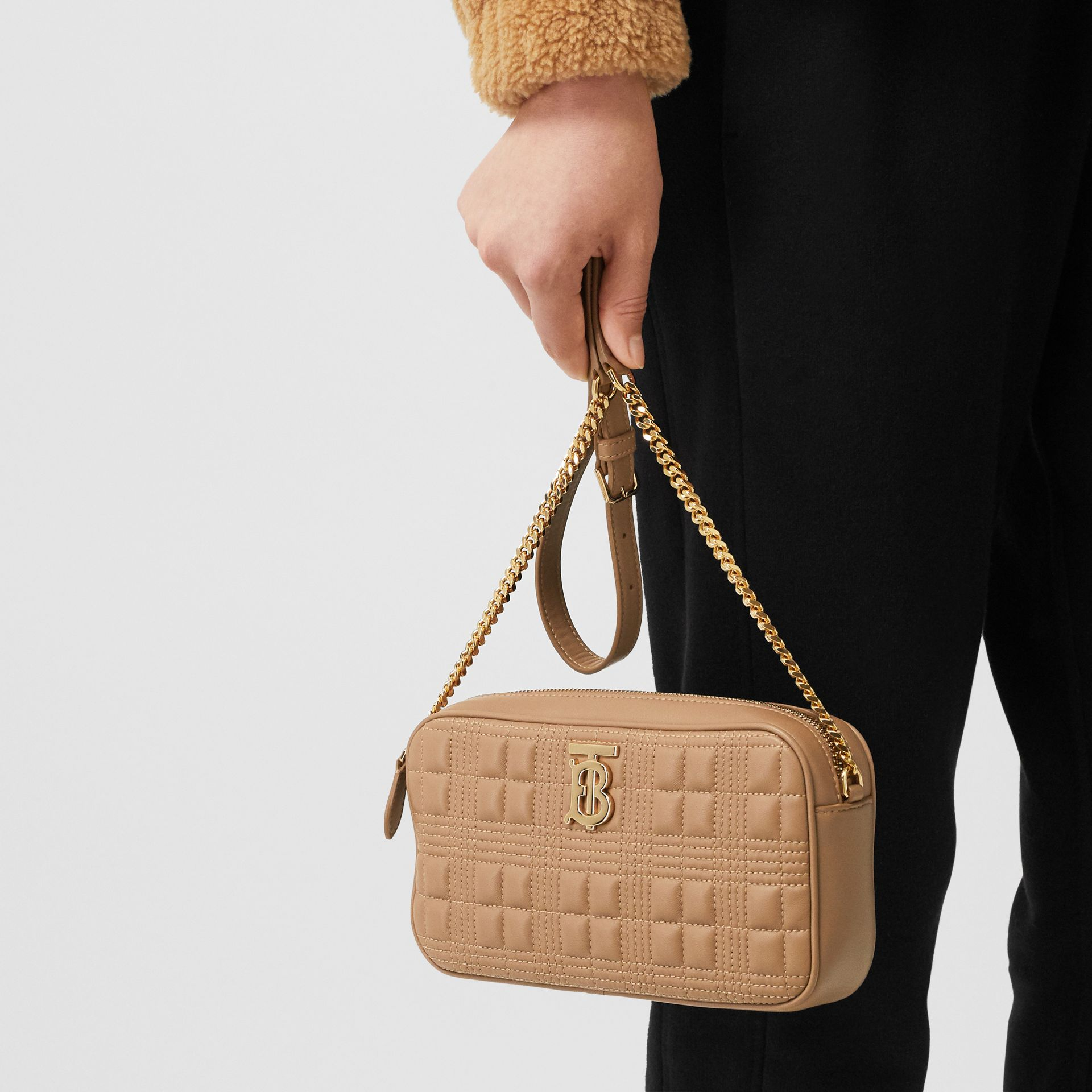 Quilted Check Lambskin Camera Bag in Camel - Women | Burberry - gallery image 8