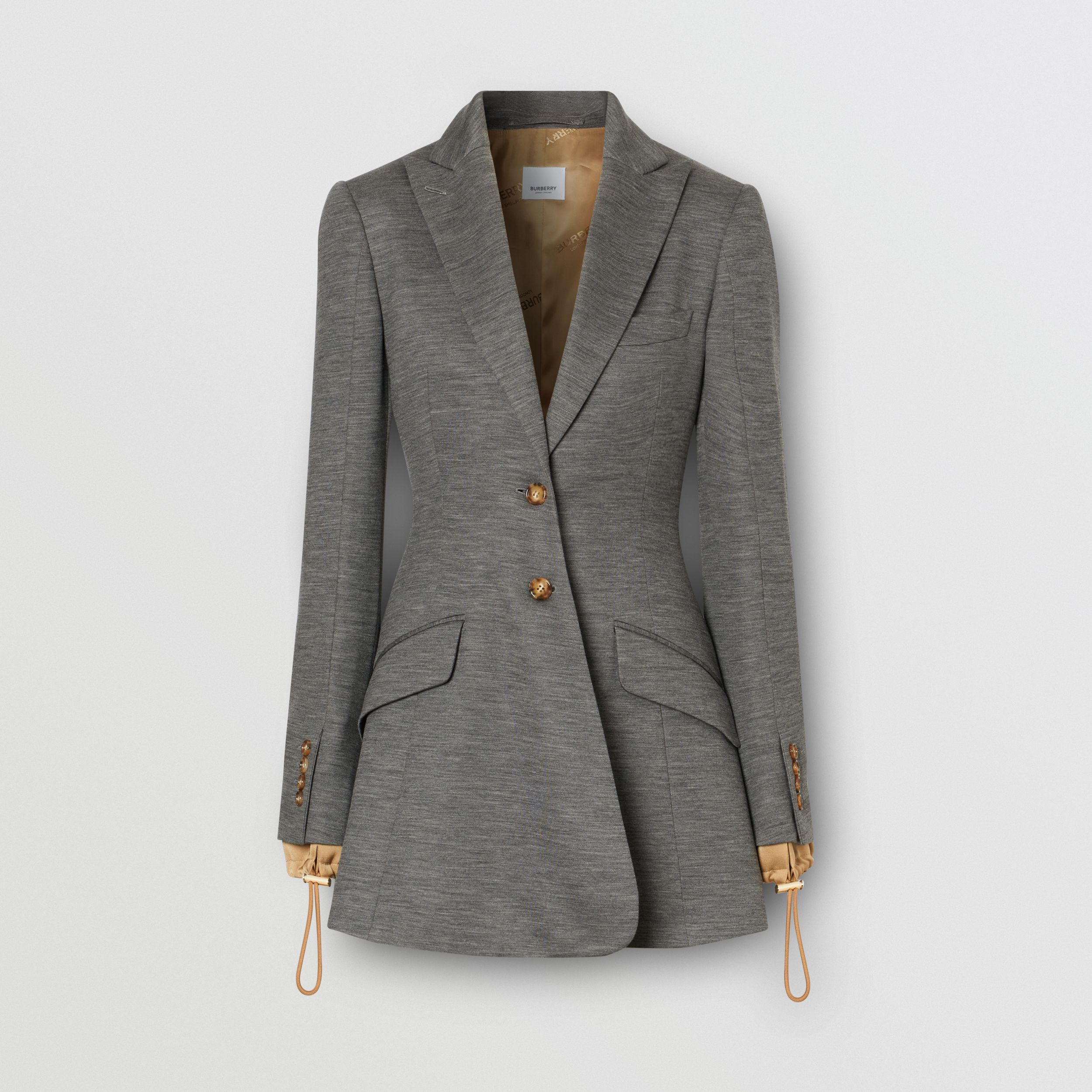 Silk Trim Technical Wool Blazer in Charcoal Grey - Women | Burberry Australia - 4