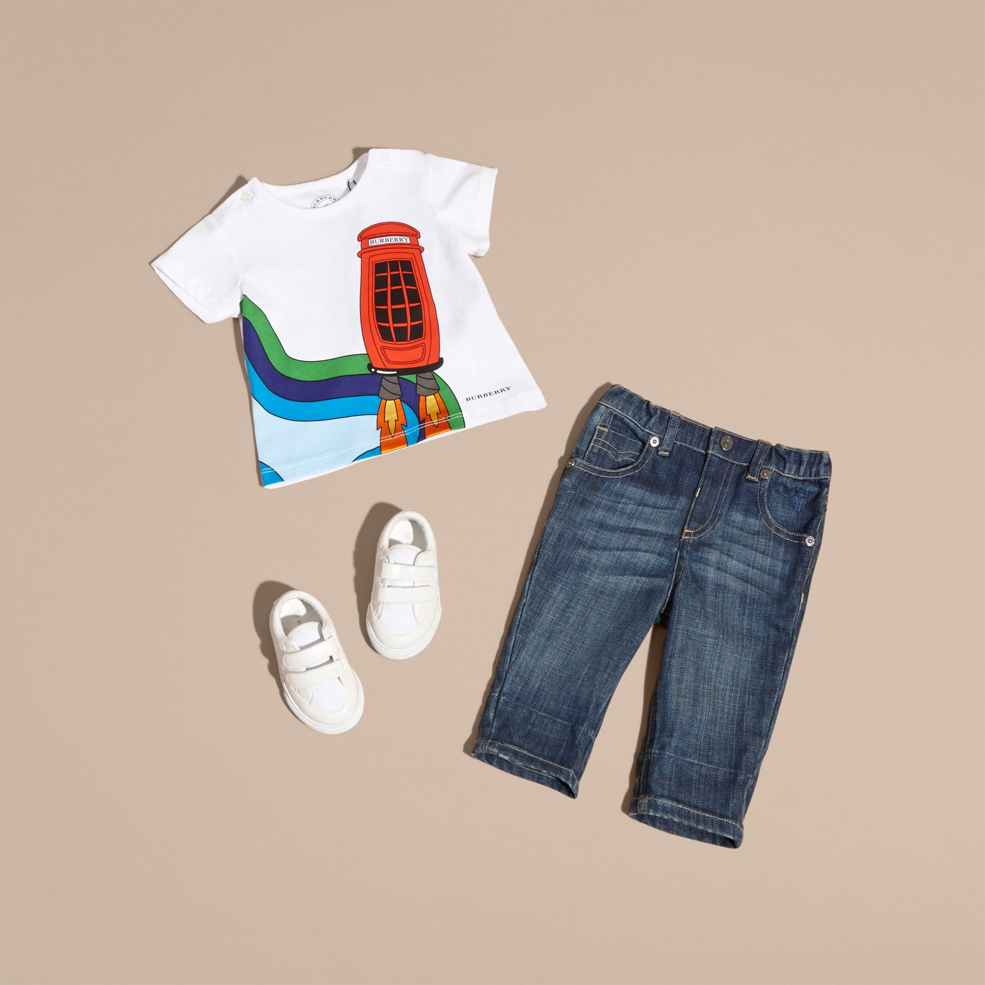 White Rocket Telephone Box Print Cotton T-shirt - gallery image 5