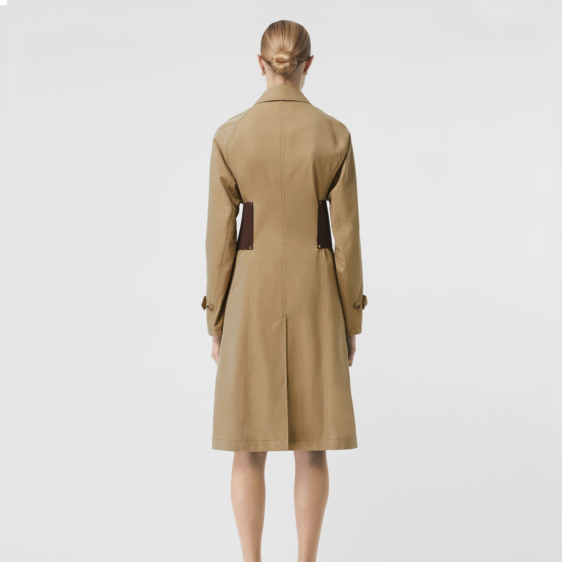 Corset-belt Cotton Gabardine Car Coat in Pale Honey - Women | Burberry - gallery image 2