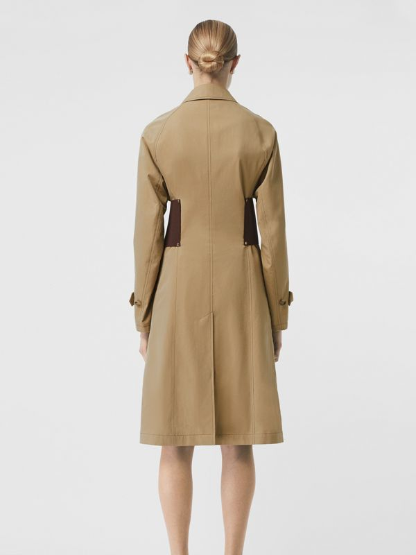 Corset-belt Cotton Gabardine Car Coat in Pale Honey - Women | Burberry United States - cell image 2