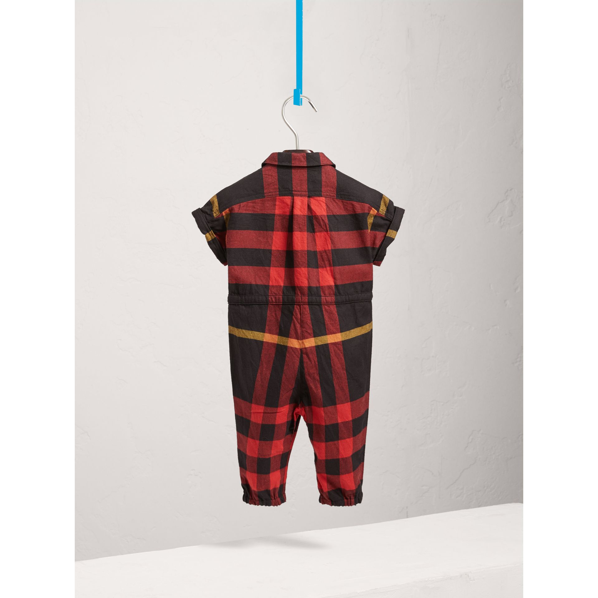 Short-sleeve Check Cotton Flannel Jumpsuit in Black | Burberry - gallery image 3