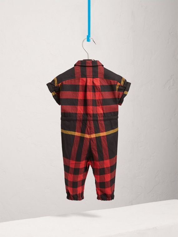 Short-sleeve Check Cotton Flannel Jumpsuit in Black | Burberry Singapore - cell image 3