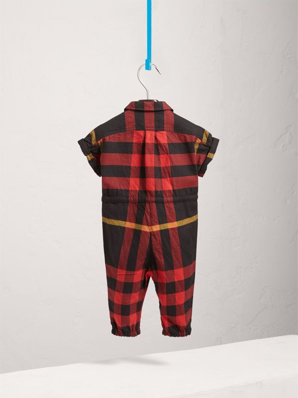 Short-sleeve Check Cotton Flannel Jumpsuit in Black | Burberry - cell image 3