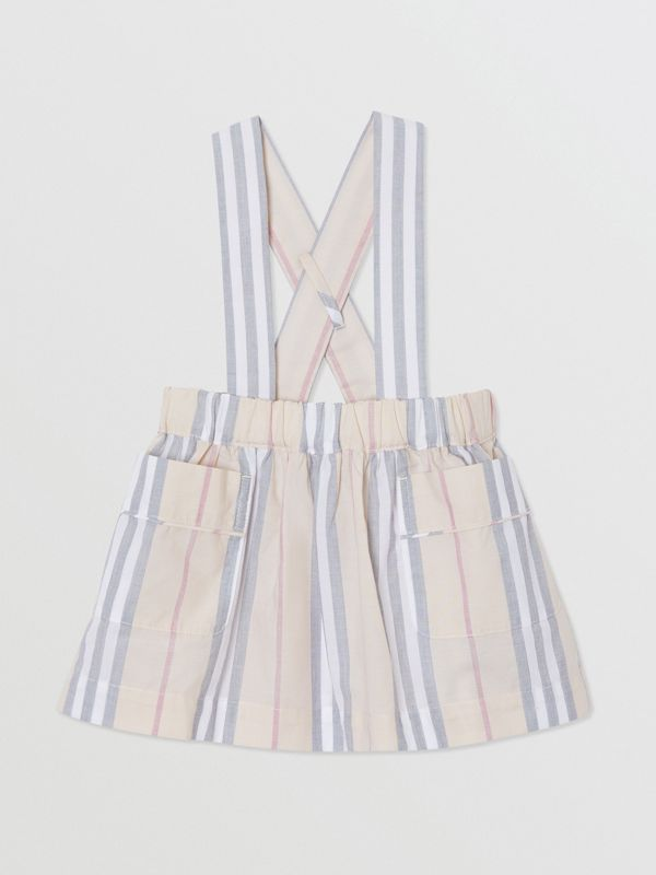 Icon Stripe Cotton Three-piece Baby Gift Set in Pale Stone - Children | Burberry - cell image 3