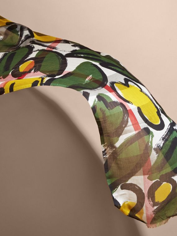 Painterly Print Check Modal, Silk and Cashmere Scarf Stone/olive Green - cell image 3