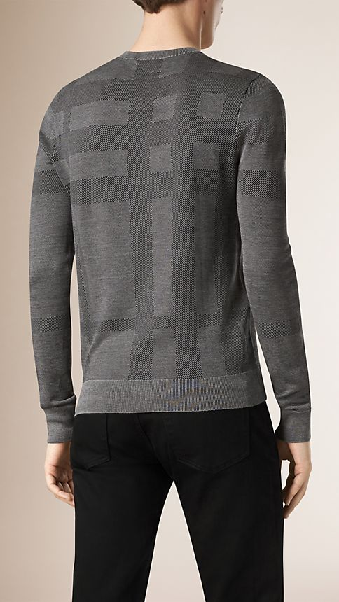 Grey stone Check Crew Neck Silk Sweater - Image 2