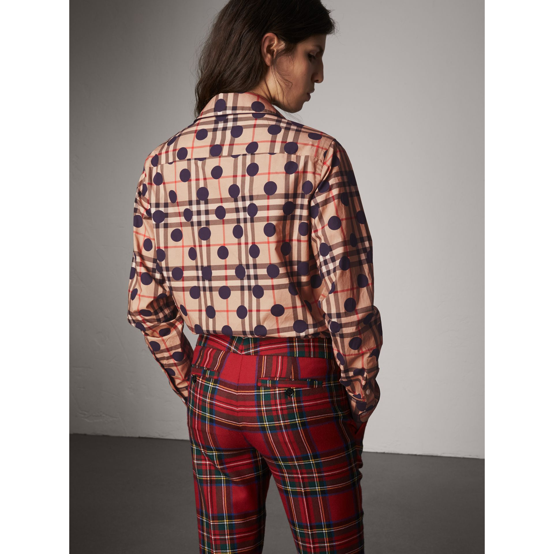 Polka-dot Check Cotton Pyjama-style Shirt in Navy - Women | Burberry - gallery image 3