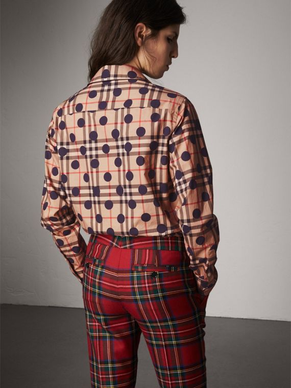 Polka-dot Check Cotton Pyjama-style Shirt in Navy - Women | Burberry - cell image 2