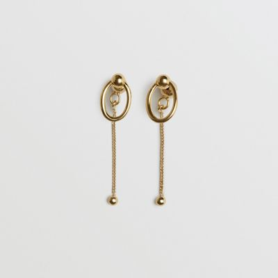 Oval And Charm Gold-Plated Drop Earrings in Metallic