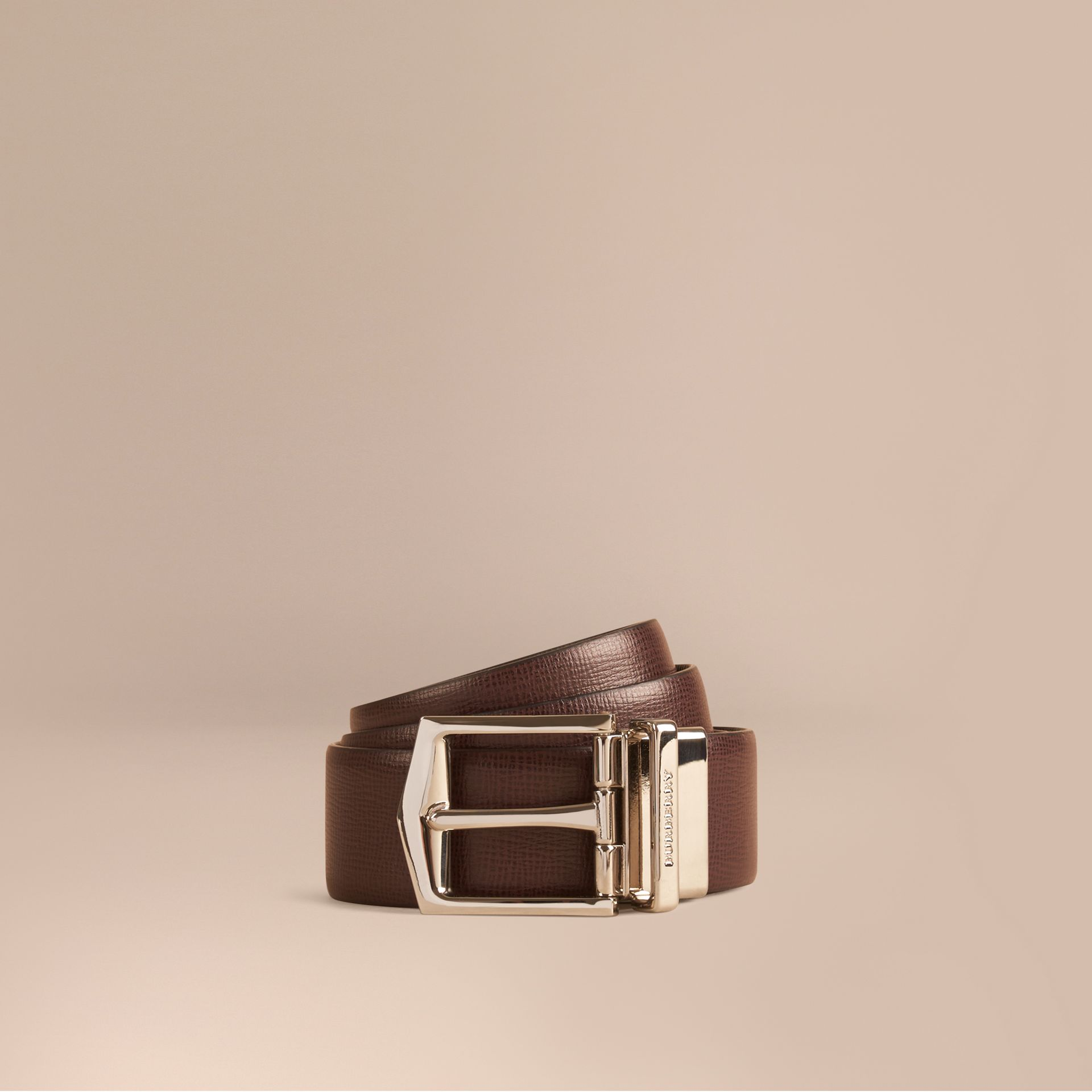 Wine/black Reversible London Leather Belt - gallery image 1