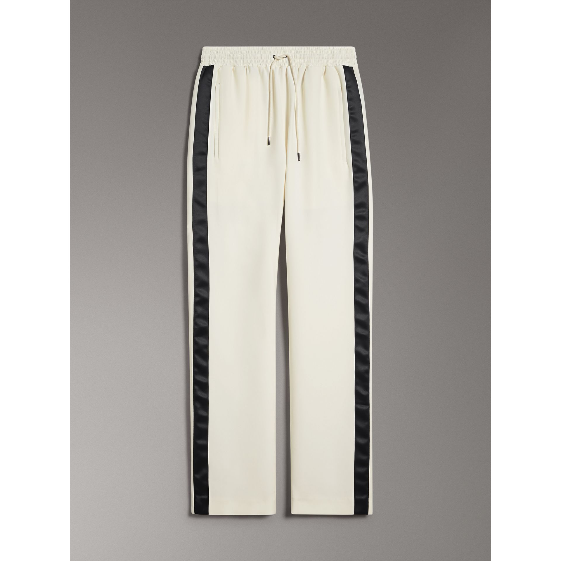Stripe Detail Silk Wool Tailored Trackpants in Off White - Women | Burberry - gallery image 3