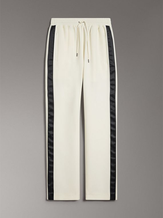 Sport Stripe Silk Wool Sweatpants in Off White - Women | Burberry - cell image 3