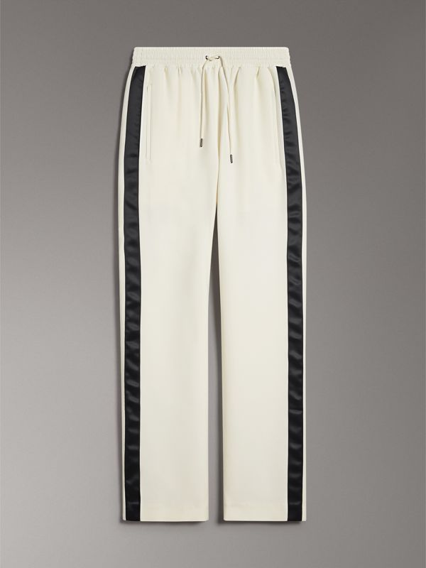 Stripe Detail Silk Wool Tailored Trackpants in Off White - Women | Burberry - cell image 3