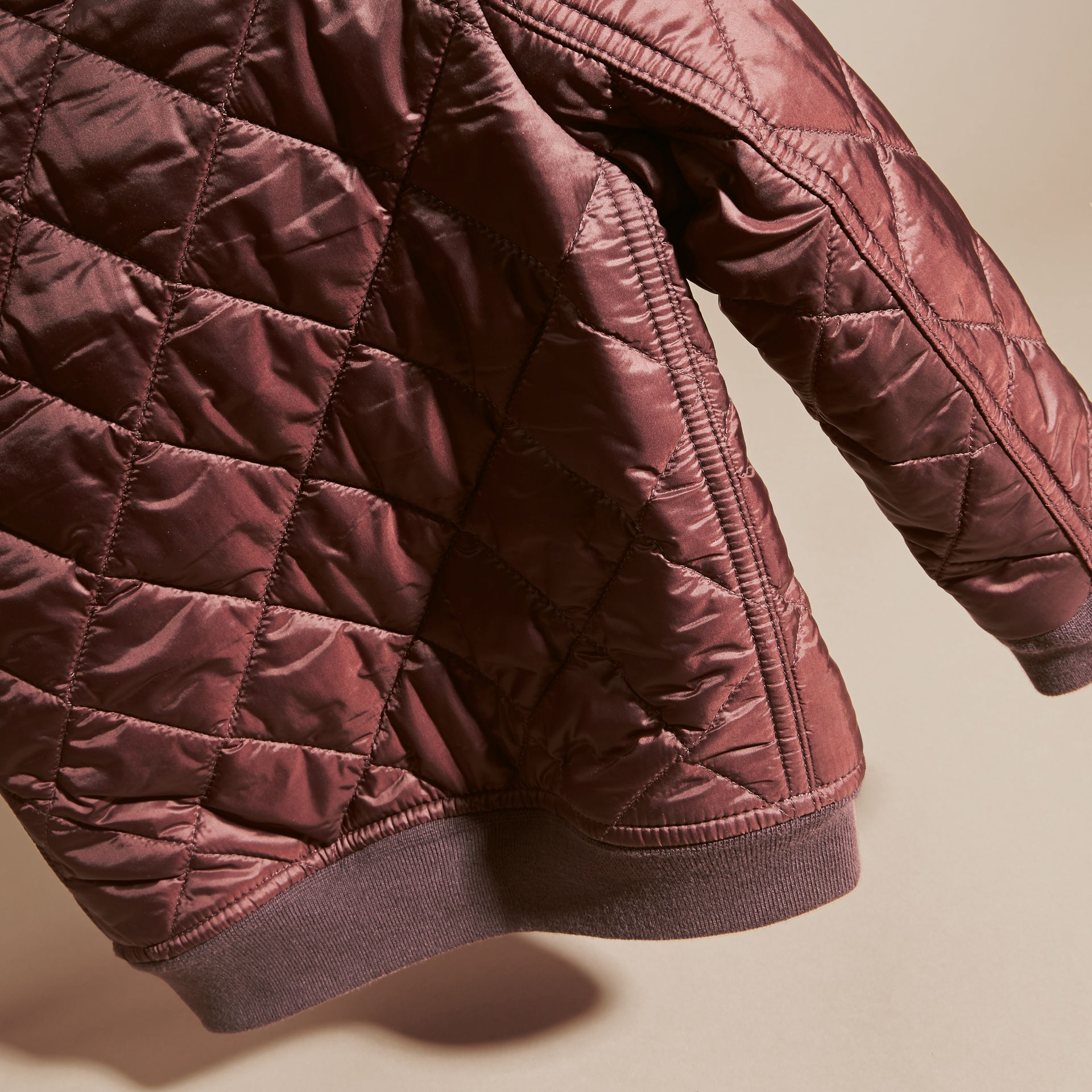 Deep burgundy Leather Trim Lightweight Quilted Bomber Jacket - gallery image 4