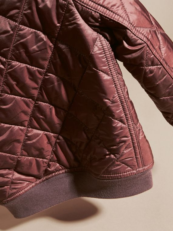 Deep burgundy Leather Trim Lightweight Quilted Bomber Jacket - cell image 3