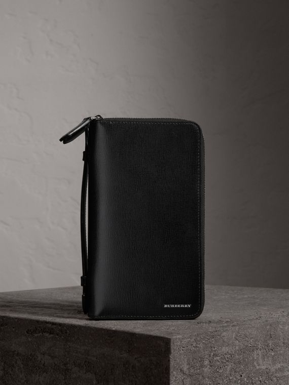 Reisebrieftasche aus London-Leder (Schwarz)