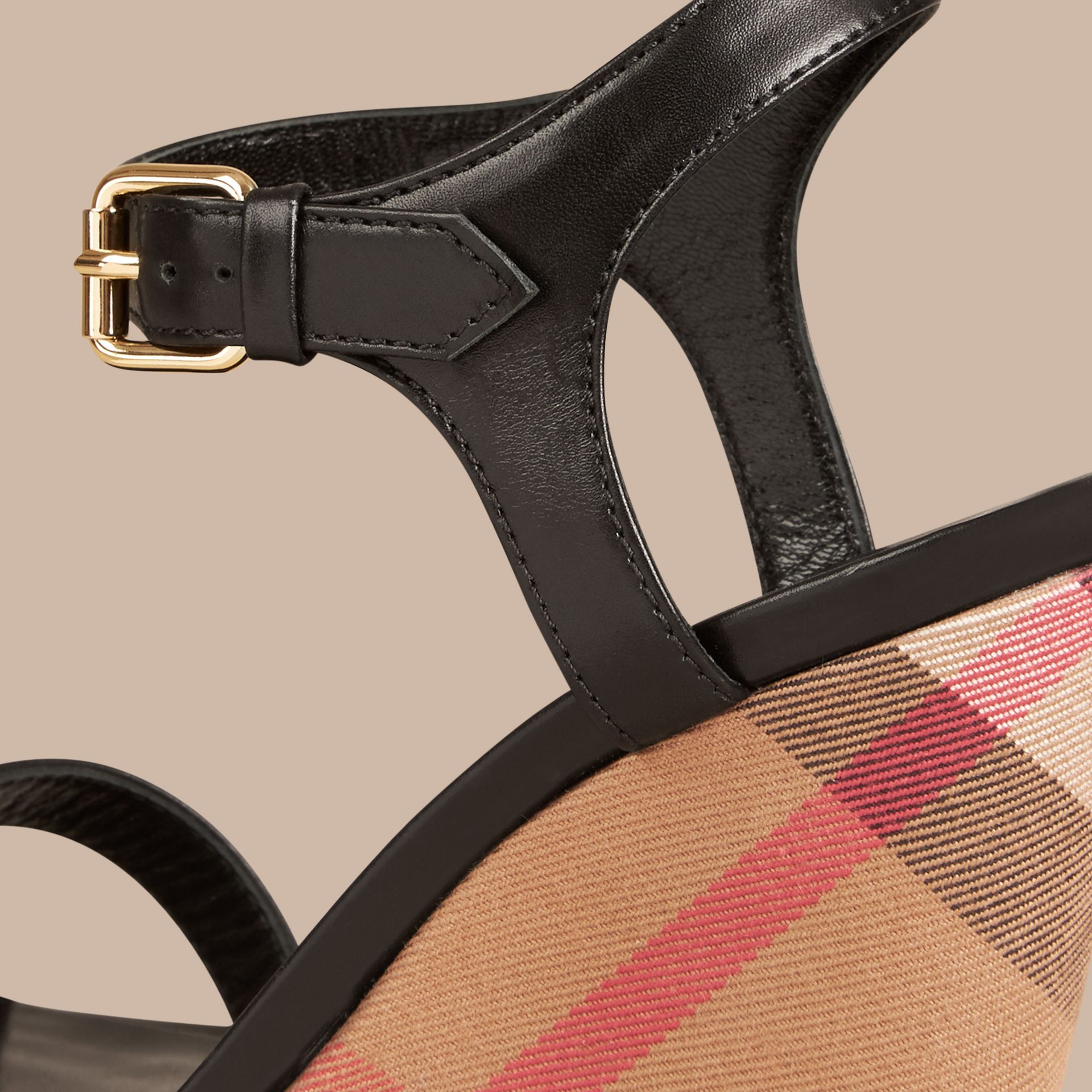 House Check and Leather Wedge Sandals in Black - Women | Burberry Canada - gallery image 2