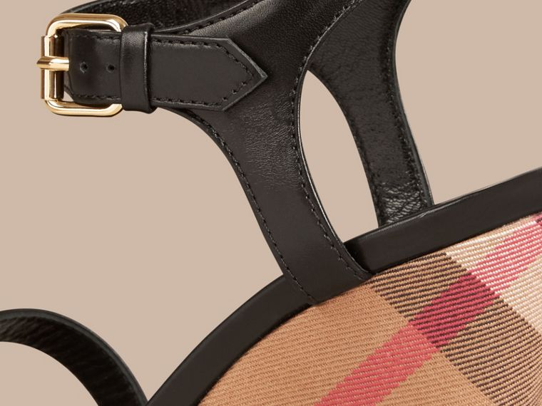House Check and Leather Wedge Sandals in Black - Women | Burberry - cell image 1