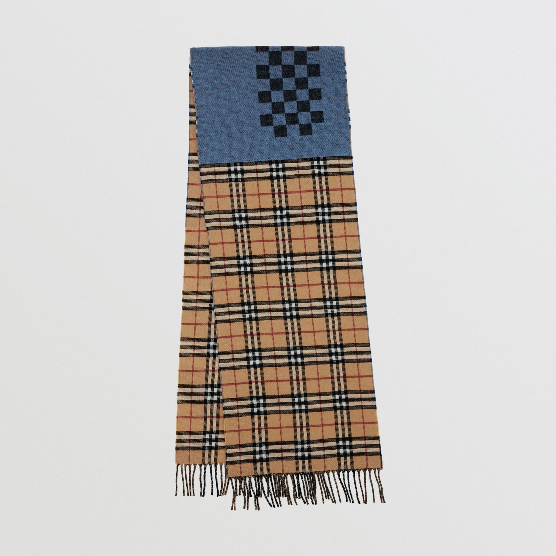 Vintage Check Colour Block Wool Cashmere Scarf in Antique Yellow | Burberry - gallery image 0