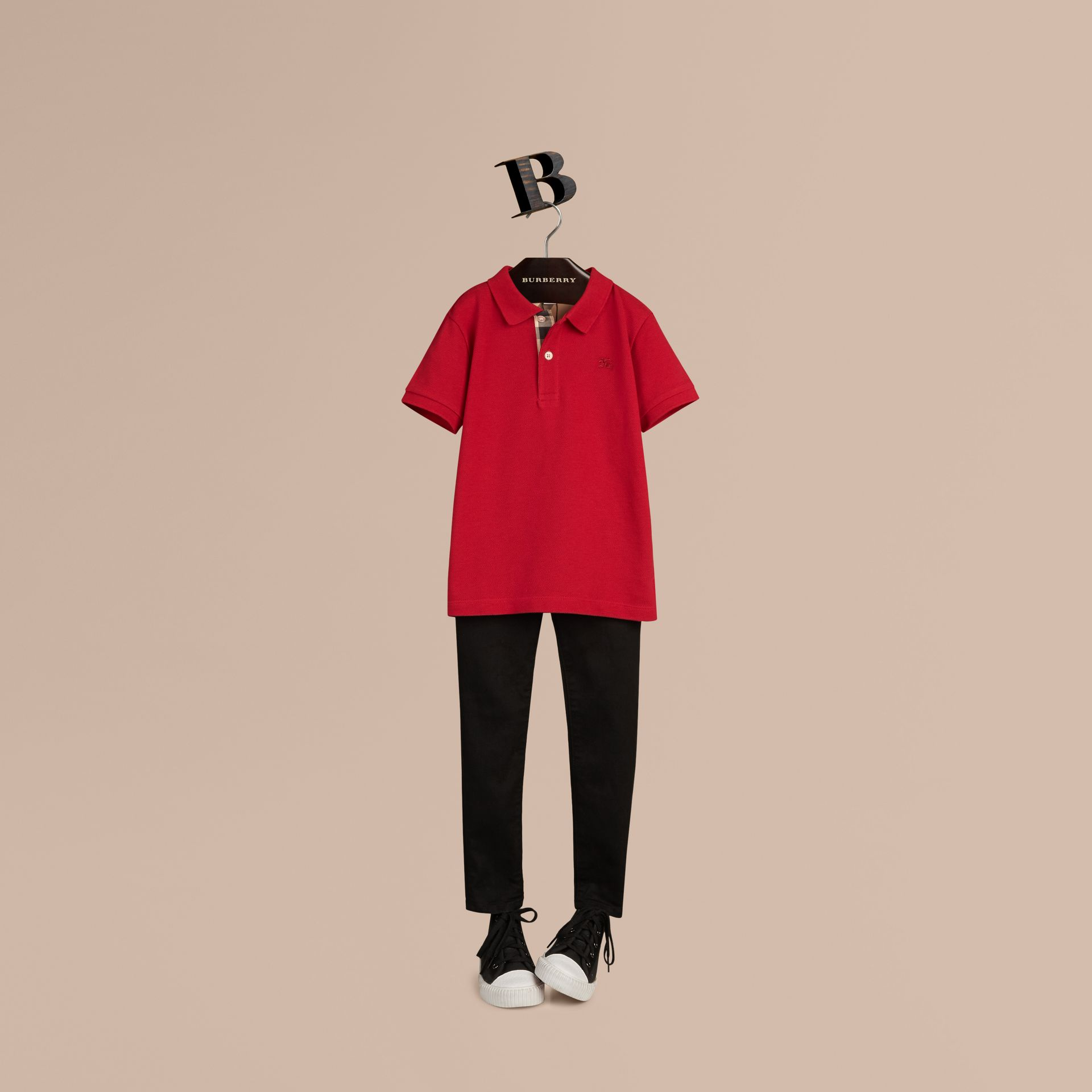 Check Placket Polo Shirt in Military Red - gallery image 1