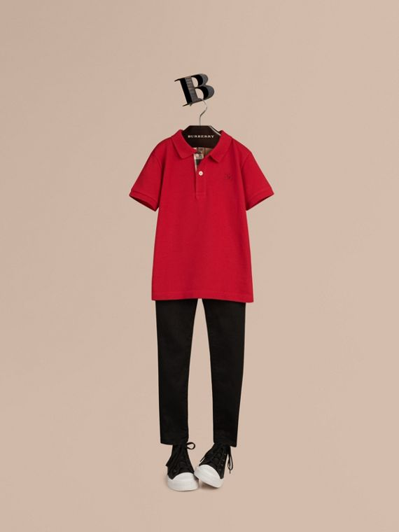 Check Placket Polo Shirt in Military Red