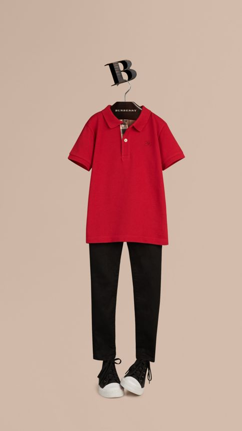Military red Check Placket Polo Shirt Military Red - Image 1