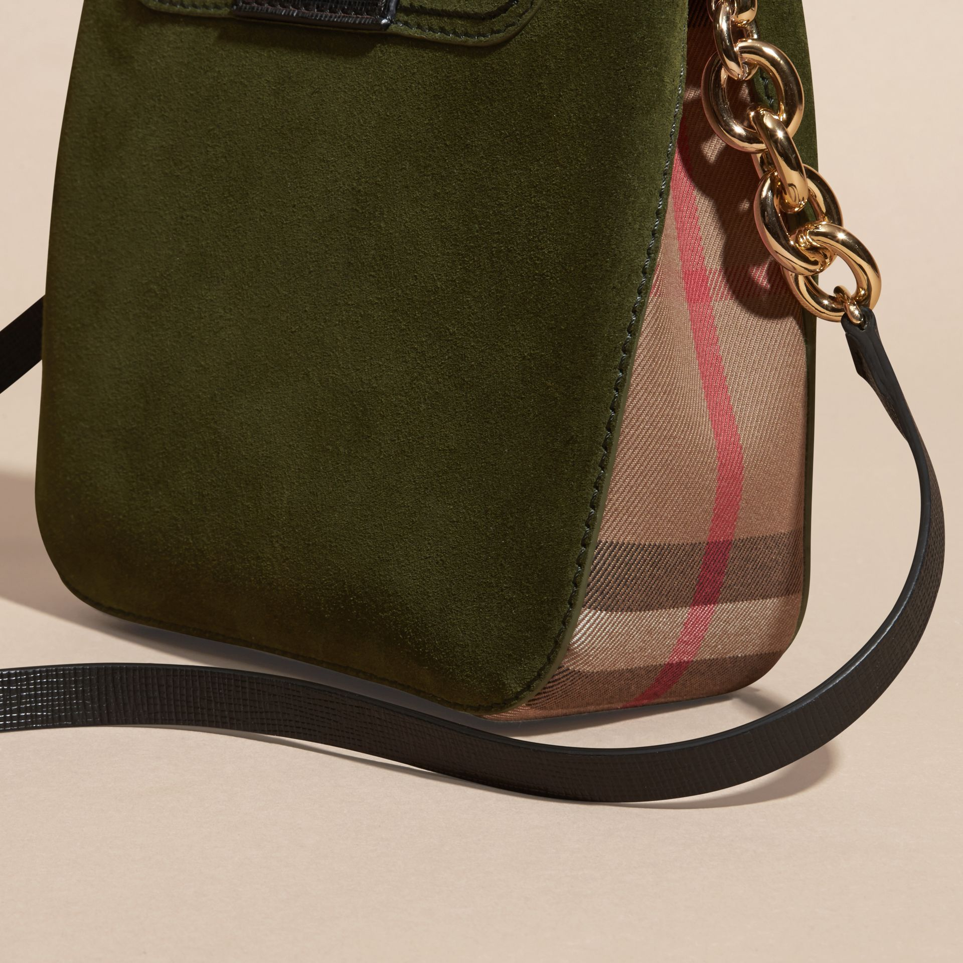 Military green The Medium Buckle Bag – Square in English Suede and House Check - gallery image 6