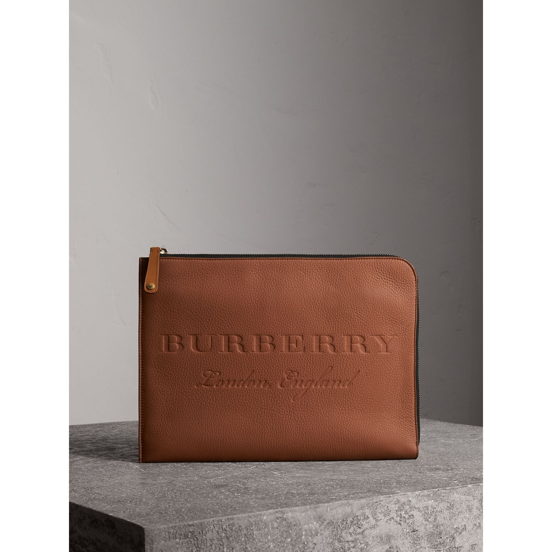 Embossed Leather Document Case in Chestnut Brown - Men | Burberry - gallery image 1