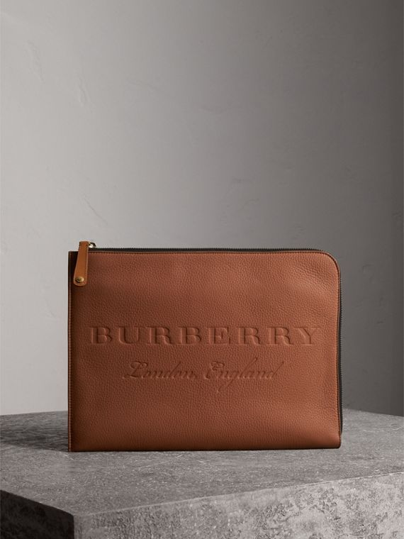 Embossed Leather Document Case in Chestnut Brown
