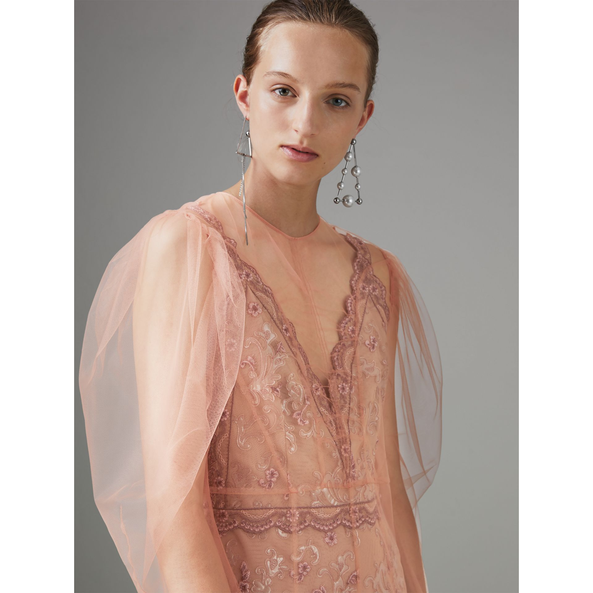Floral-embroidered Puff-sleeve Dress in Dusty Pink - Women | Burberry United Kingdom - gallery image 1
