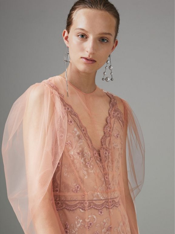 Floral-embroidered Puff-sleeve Dress in Dusty Pink - Women | Burberry - cell image 1