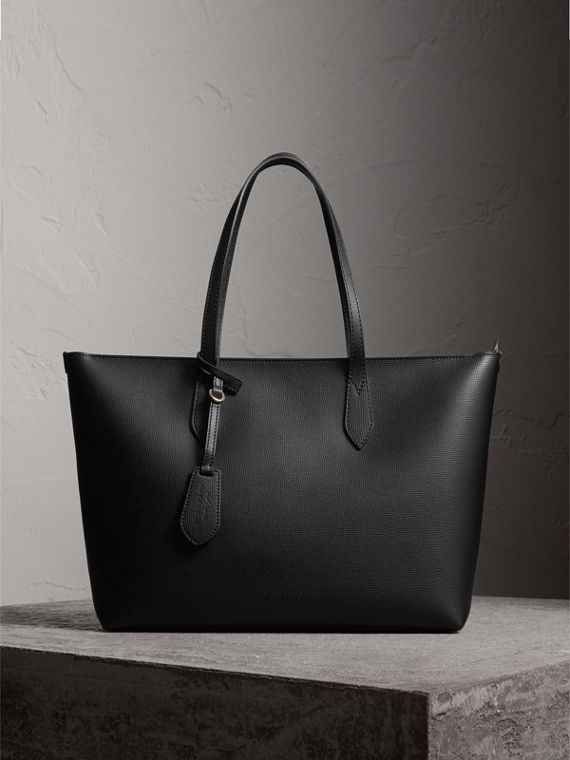 Medium Coated Leather Tote in Black