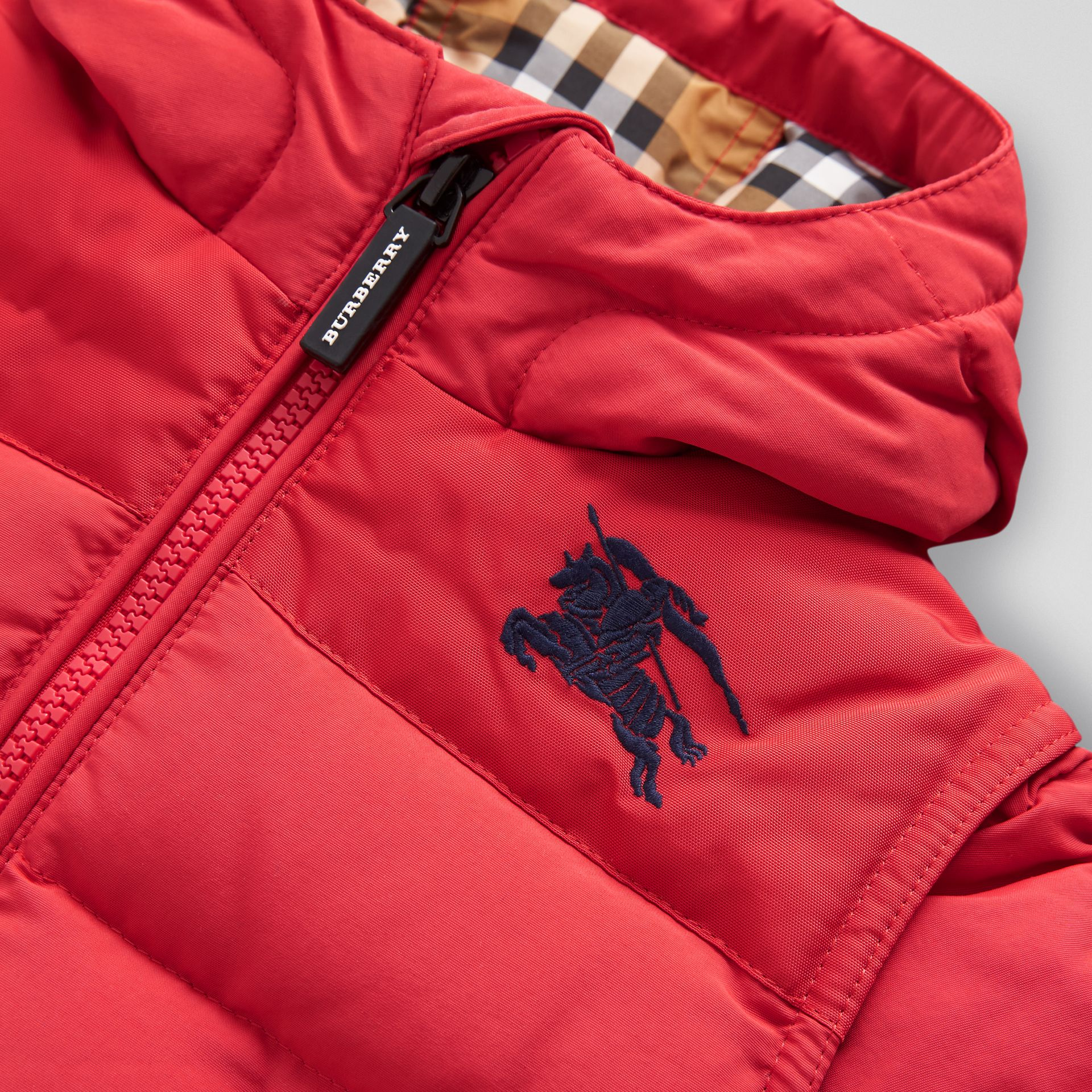 Down-filled Hooded Puffer Jacket in Bright Red | Burberry - gallery image 1