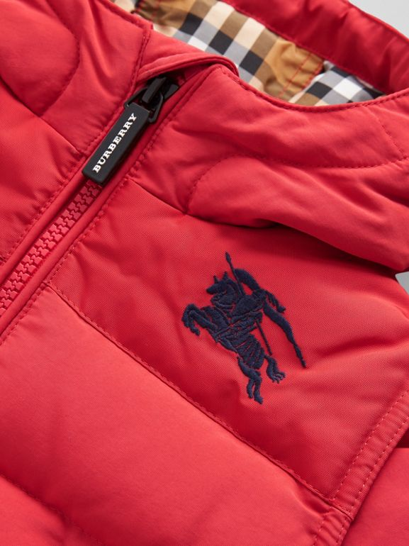 Down-filled Hooded Puffer Jacket in Bright Red | Burberry - cell image 1