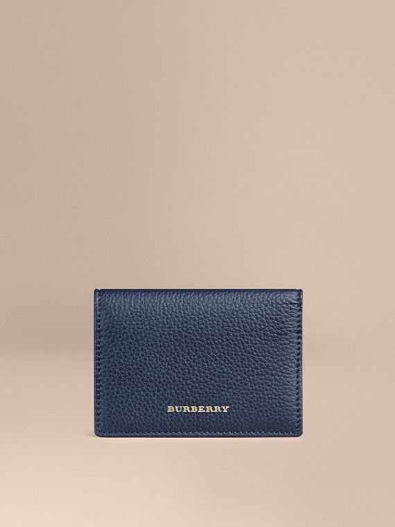 Grainy Leather Card Case Bright Navy